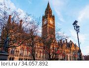 Купить «Manchester, United Kingdom - February 17, 2019: Manchester Town Hall with Chinese New Year lantern decorations in Manchester, UK.», фото № 34057892, снято 17 февраля 2019 г. (c) age Fotostock / Фотобанк Лори