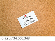 Купить «Sticky Note On Cork Board Background And Text Concept», фото № 34060348, снято 7 июля 2020 г. (c) easy Fotostock / Фотобанк Лори