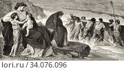 Medea's farewell, who murdered her two children for revenge on her unfaithful husband Jason. Greek mythology, Ancient Greece. Old 19th century engraved illustration, El Mundo Ilustrado 1880. Стоковое фото, фотограф Jerónimo Alba / age Fotostock / Фотобанк Лори
