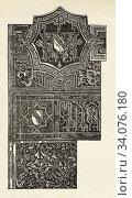 Arabesque drawings. Ornamentation of an Arab Quran, Library of the Viceroy of Cairo, Ancient Egypt. Old 19th century engraved illustration, El Mundo Ilustrado 1880. Стоковое фото, фотограф Jerónimo Alba / age Fotostock / Фотобанк Лори