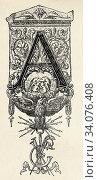 19th century design, Initial letter A. Old 19th century engraved illustration, El Mundo Ilustrado 1880. Стоковое фото, фотограф Jerónimo Alba / age Fotostock / Фотобанк Лори