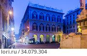 Купить «Evening view of Piazza San Lorenzo, Genoa», фото № 34079304, снято 4 декабря 2017 г. (c) Яков Филимонов / Фотобанк Лори