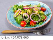 Купить «Plate of low calorie salad with avocado», фото № 34079660, снято 10 июля 2020 г. (c) Яков Филимонов / Фотобанк Лори