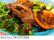 Купить «Roasted pork shin with lentils, avocado, greens and grilled orange», фото № 34079688, снято 2 июля 2020 г. (c) Яков Филимонов / Фотобанк Лори
