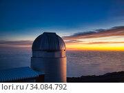 The Mercator Telescope, Roque de los Muchachos Observatory, La Palma, Canary Islands, Spain...The Mercator Telescope is a 1.2 m quasi-robotic telescope... Стоковое фото, фотограф Javier Larrea / age Fotostock / Фотобанк Лори