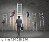 Купить «Career progression concept with various ladders», фото № 34088396, снято 4 июля 2020 г. (c) Elnur / Фотобанк Лори