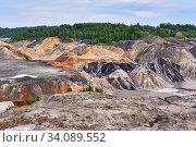 Купить «Colorful industrial landscape - old kaolin quarry», фото № 34089552, снято 12 июня 2020 г. (c) Евгений Харитонов / Фотобанк Лори