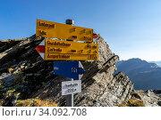 Купить «Wegweiser für Alpin- (blau) und Bergwanderungen am Fanellgrätli, Zervreila-Region, Valser Tal, Graubünden», фото № 34092708, снято 9 июля 2020 г. (c) age Fotostock / Фотобанк Лори