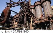 Old steel factory in area Dolni Vitkovice, Ostrava, Czech Republic. Стоковое видео, видеограф Яков Филимонов / Фотобанк Лори