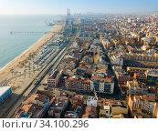Aerial view of the spanish city of Badalona. Barcelona, Spain (2019 год). Стоковое фото, фотограф Яков Филимонов / Фотобанк Лори
