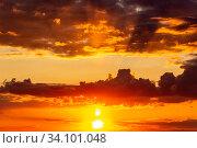 Купить «Scenic view. Fantastic bright sky with beautiful clouds at sunset day.», фото № 34101048, снято 11 мая 2020 г. (c) Акиньшин Владимир / Фотобанк Лори