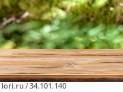 Купить «Aged wooden table for montage or display products on a green leaves blurred background.», фото № 34101140, снято 11 июня 2020 г. (c) Ярослав Данильченко / Фотобанк Лори