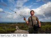 Купить «Portrait of scientist Nathan Cooper with telemetry device. Cat Island, Bahamas.», фото № 34101428, снято 4 июля 2020 г. (c) Nature Picture Library / Фотобанк Лори