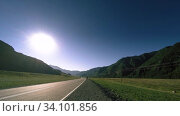 Купить «Mountain road timelapse at the summer or autumn sunset sunrise time. Wild nature and rural field.», видеоролик № 34101856, снято 8 июня 2018 г. (c) Александр Маркин / Фотобанк Лори