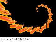 Купить «Abstract spiral helix shape of flying Propane gas cylinders isolated on background. 3d illustration.», фото № 34102696, снято 14 июля 2020 г. (c) age Fotostock / Фотобанк Лори