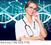 Купить «Smiling female doctor in white coat and dna molecule formula over blue background», фото № 34103116, снято 6 июля 2020 г. (c) age Fotostock / Фотобанк Лори