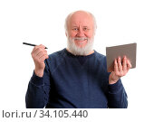 Funny bald and bearded old man using tablet computer, isolated on white. Стоковое фото, фотограф Zoonar.com/Serghei Starus / easy Fotostock / Фотобанк Лори
