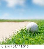 Купить «Golf ball on green tee», фото № 34111516, снято 11 июля 2020 г. (c) easy Fotostock / Фотобанк Лори