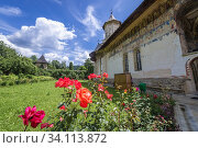 Moldovita Monastery - Romanian Orthodox monastery located in commune of Vatra Moldovitei, Suceava County, Romania. Стоковое фото, фотограф Konrad Zelazowski / age Fotostock / Фотобанк Лори