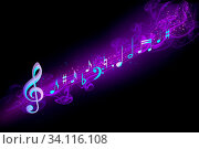 Купить «Musical notes on a blackboard», фото № 34116108, снято 15 июля 2020 г. (c) age Fotostock / Фотобанк Лори