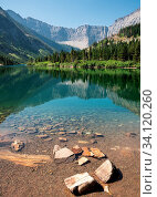 Купить «Bertha lake, Landscape of the Waterton Lakes National Park with blue sky, Alberta, Canada», фото № 34120260, снято 11 июля 2020 г. (c) easy Fotostock / Фотобанк Лори