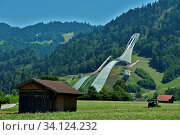 Olympiaschanze in Garmisch-Partenkirchen, Bayern, Deutschland, olympia ski jumping hill in Garmisch-Partenkirchen, Bavaria, Germany. Стоковое фото, фотограф Zoonar.com/Jürgen Vogt / easy Fotostock / Фотобанк Лори