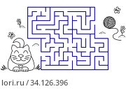 Купить «Black coloring pages with maze. Cartoon cat and clew. Kids education art game. Template design with pet on white background. Outline vector», иллюстрация № 34126396 (c) Dmitry Domashenko / Фотобанк Лори