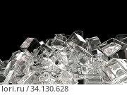 Купить «Ice cubes isolated on black background 3d illustration.», фото № 34130628, снято 4 июля 2020 г. (c) age Fotostock / Фотобанк Лори