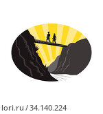 Illustration of two trampers hikers crossing a deep ravine with river below on a single log bridge set inside oval shape viewed from low angle with sunburst... Стоковое фото, фотограф Zoonar.com/patrimonio designs limited / easy Fotostock / Фотобанк Лори