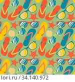 Купить «Seamless pattern with colorful flip flops, vector Eps10 image.», фото № 34140972, снято 3 июля 2020 г. (c) easy Fotostock / Фотобанк Лори