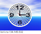 Geschwungene metallische Uhr. Стоковое фото, фотограф Zoonar.com/Dr. Norbert Lange / easy Fotostock / Фотобанк Лори