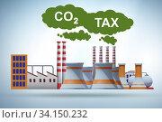 Carbon tax concept with industrial plant. Стоковое фото, фотограф Elnur / Фотобанк Лори