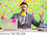 Купить «Businessman with many conflicting priorities», фото № 34150328, снято 24 мая 2018 г. (c) Elnur / Фотобанк Лори