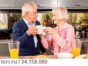 Senioren Paar im Ruhestand in der Küche beim Anstoßen mit einem Becher Kaffee. Стоковое фото, фотограф Zoonar.com/Robert Kneschke / age Fotostock / Фотобанк Лори