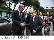 Alessandro Pansa and Ennio Morricone, Rome, ITALY-06-05-2015. Редакционное фото, фотограф Alessandro Serrano' / AGF/Alessandro Serrano' / / age Fotostock / Фотобанк Лори