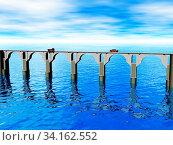 Steinerne Brücke über den Meerarm. Стоковое фото, фотограф Zoonar.com/Dr. Norbert Lange / easy Fotostock / Фотобанк Лори