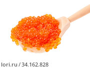 Big wooden spoon with salted russian red caviar of pink salmon fish isolated on white background. Стоковое фото, фотограф Zoonar.com/Valery Voennyy / easy Fotostock / Фотобанк Лори