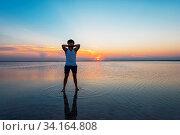 Beauty sunset on salty lake in Altay, Siberia, Russia. Стоковое фото, фотограф Zoonar.com/Ruslan Olinchuk / easy Fotostock / Фотобанк Лори