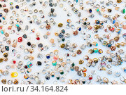 Collection of jewellery rings on white background. Стоковое фото, фотограф Zoonar.com/Matej Kastelic / easy Fotostock / Фотобанк Лори