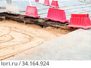 Repair of tram tracks in Moscow city - disassembled tram road on crossway. Стоковое фото, фотограф Zoonar.com/Valery Voennyy / easy Fotostock / Фотобанк Лори