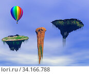 Fliegende Inseln am blauen Himmel. Стоковое фото, фотограф Zoonar.com/Dr. Norbert Lange / easy Fotostock / Фотобанк Лори
