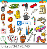 Cartoon Illustration of Finding Picture Starting with Letter C Educational Game Worksheet for Children. Стоковое фото, фотограф Zoonar.com/Igor Zakowski / easy Fotostock / Фотобанк Лори