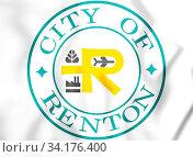 3D Seal of Renton (Washington State). 3D Illustration. Стоковое фото, фотограф Zoonar.com/Inna Popkova / easy Fotostock / Фотобанк Лори