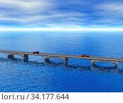 Brücke mit Autos über Meerenge. Стоковое фото, фотограф Zoonar.com/Dr. Norbert Lange / easy Fotostock / Фотобанк Лори