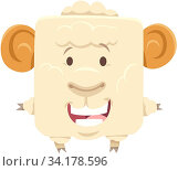 Cartoon Illustration of Funny Ram Farm Animal Character. Стоковое фото, фотограф Zoonar.com/Igor Zakowski / easy Fotostock / Фотобанк Лори