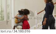 Купить «Father embracing his son and daughter at home», видеоролик № 34180016, снято 28 ноября 2019 г. (c) Wavebreak Media / Фотобанк Лори