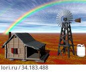 Windrad und Wasserturm in der Wüste. Стоковое фото, фотограф Zoonar.com/Dr. Norbert Lange / easy Fotostock / Фотобанк Лори