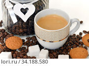 Cup of espresso with white sugar and cookies on background of jar with coffee grains. Стоковое фото, фотограф Валерия Попова / Фотобанк Лори