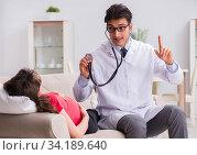 Купить «Pregnant woman patient visiting doctor for regular check-up», фото № 34189640, снято 10 ноября 2017 г. (c) Elnur / Фотобанк Лори