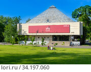 Купить «Moscow, Russia - June 13, 2020: VDNH park at sunny summer morning. Pavilion 46. VDNH is popular historical place in Moscow», фото № 34197060, снято 13 июня 2020 г. (c) Григорий Стоякин / Фотобанк Лори